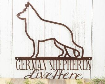 German Shepherds Live Here Metal Sign - Copper, 16x16, Dog Sign, Door Sign, Wall Hanging, Wall Plaque, Wall Art, Plaque