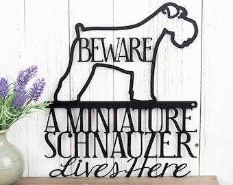 Miniature Schnauzer Lives Here Metal Sign - Black, 11.5x13, Outdoor Sign, Schnauzer, Metal Wall Art, Door Signs