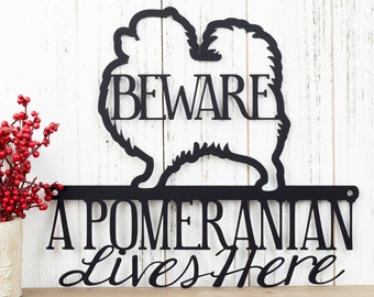 Pomeranian Lives Here Metal Sign - Black, 12x10.5, Toy Pomeranian, Small Dog, Metal Wall Art, Dog Lover Gift, Door Sign