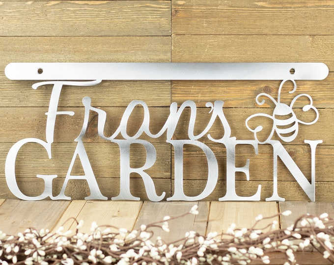 Garden Custom Metal Wall Art / Metal Sign / Custom Sign / Garden Decor / Name Sign / Steel / 18x8 / example: Uncoated Bare Metal, Bumble Bee