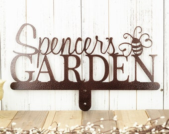 Garden Sign   Name Sign   Metal Name Sign   Gift For Her   Mothers Day Gift   Metal Art   Metal Decor   Garden Decor   Bumble Bee   Sign