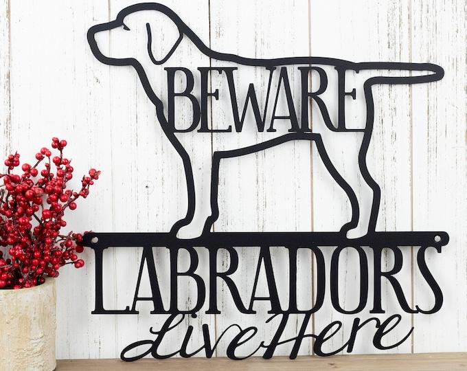 Labradors Live Here Metal Sign - Black, 12x11.75, Black Lab, Labrador Dog, Dog Sign, Metal Wall Art, Wall Decor