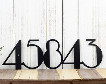 Modern House Numbers | Modern Address | Art Deco | Metal Sign | Metal Wall Art | Outdoor Address | Address Numbers | Address