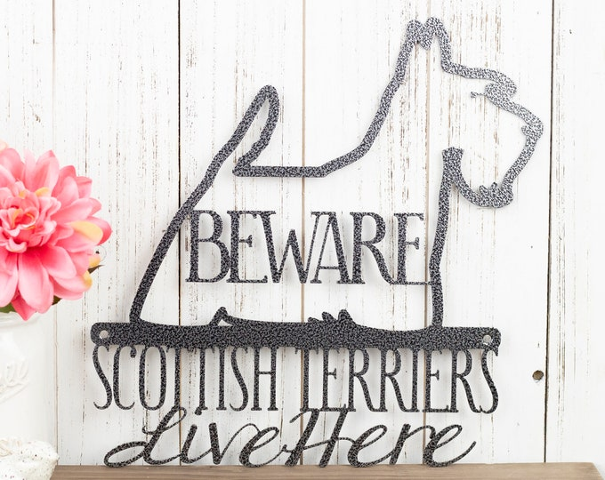 Scottish Terrier Sign | Scottie | Dog Sign | Metal Wall Art | Scottish Terrier Gift | Wall Decor | Laser Cut Metal | Silver Vein shown