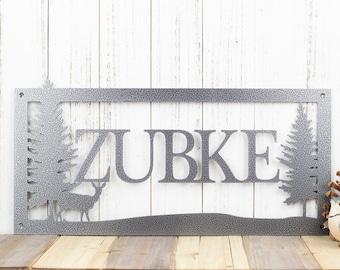 Personalized Name Metal Sign | Deer Scene | Laser Cut Steel