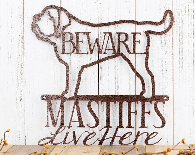English Mastiffs Live Here Metal Sign - Copper, 12x12, English Mastiff, Mastiff, Door Sign, Metal Wall Art, Dog Sign