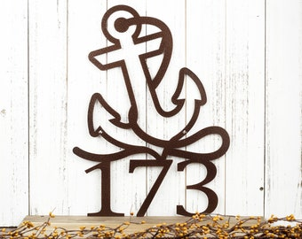 Nautical House Number with Anchor | Metal Address Plaque | Outdoor Metal Wall Art | Beach Sign | Laser Cut Sign | Copper Vein shown