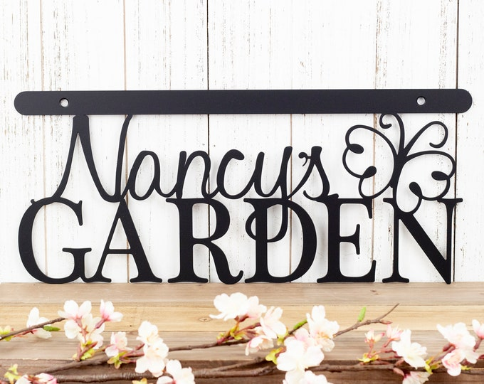 Custom Metal Garden Name Sign, Mother's Day Gift, Outdoor Metal Wall Art, Garden Decor
