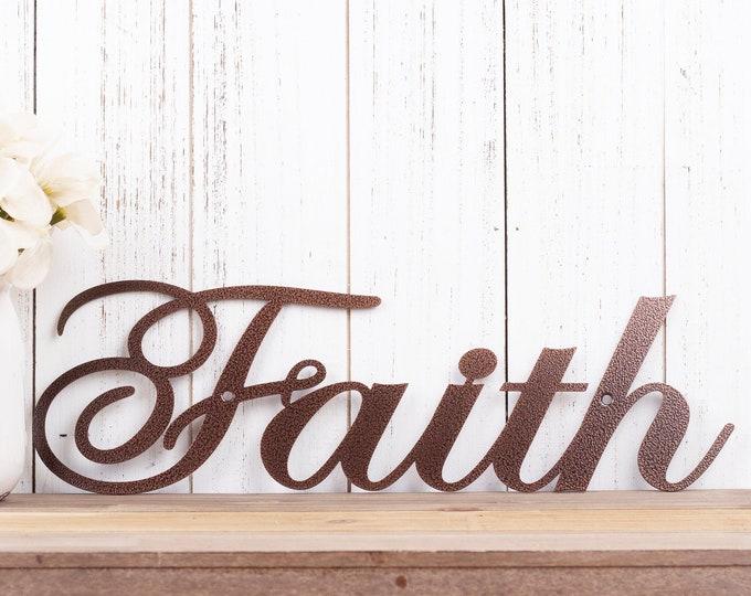 Faith Metal Sign | Religious Decor | Metal Wall Art | Spritual Decor | Religious Wall Art | Word Art | Sign | Metal Wall Decor
