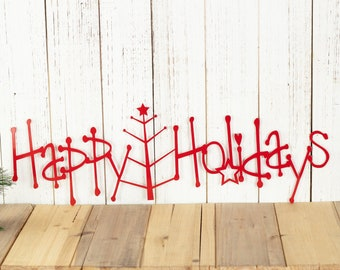 Happy Holidays Metal Sign with Christmas Tree - Red, 20x6.5, Christmas Tree, Outdoor Wall Art, Holiday Decor, Christmas