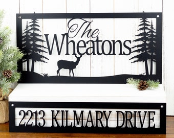 Custom Family Name and Address Metal Sign | Family Last Name | Deer | Rustic | House Numbers | Metal Wall Art | Outdoor Sign | Custom Name