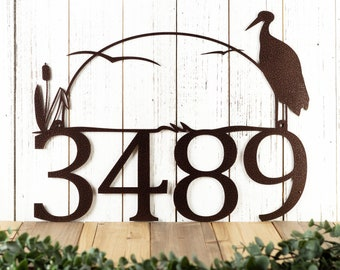 Heron House Number Sign - Address Plaque - Lake House Decor - Outdoor Signs