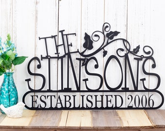 Family Established Metal Sign | Family Name Sign | Established Family | Custom Sign | Name Sign | Outdoor Sign | Vines