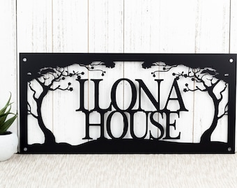 Custom Metal Sign Outdoor with Family Name for Lake House Decor with a Cherry Tree / Personalized Cabin Plaque
