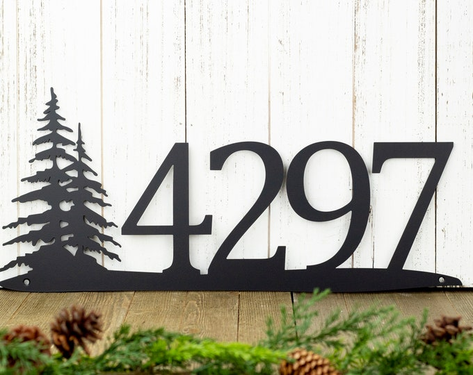Rustic Metal House Number | Metal Sign | Custom Sign | Pine Tree | House Numbers | Metal Wall Art | Outdoor Sign | Address | 4 Digit Only