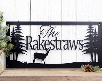 Custom Name Sign | Custom Metal Sign | Metal Sign | Personalized Sign | Lake Home Decor | Cabin Decor | Rustic Decor | Metal Wall Art | Deer