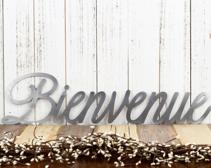 Bienvenue Sign | Welcome Sign | Metal Word Art | Outdoor Metal Wall Art | Metal Signs | French Welcome | Laser Cut Sign | Raw Steel shown