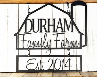 Custom Family Farm House Name Metal Sign | Established Sign | Metal Wall Art | Personalized Sign | Outdoor Sign | Name Sign | Farmhouse Sign