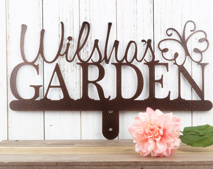 Custom Sign | Garden Decor | Name Sign | Gift for Her | Mother's Day Gift | Mothers Day Gift | Sign | Metal | Butterfly