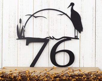 Outdoor House Number Metal Sign with Heron and Cattails - 2 Digit, Black, 14x13.5, Custom Sign, Address Sign