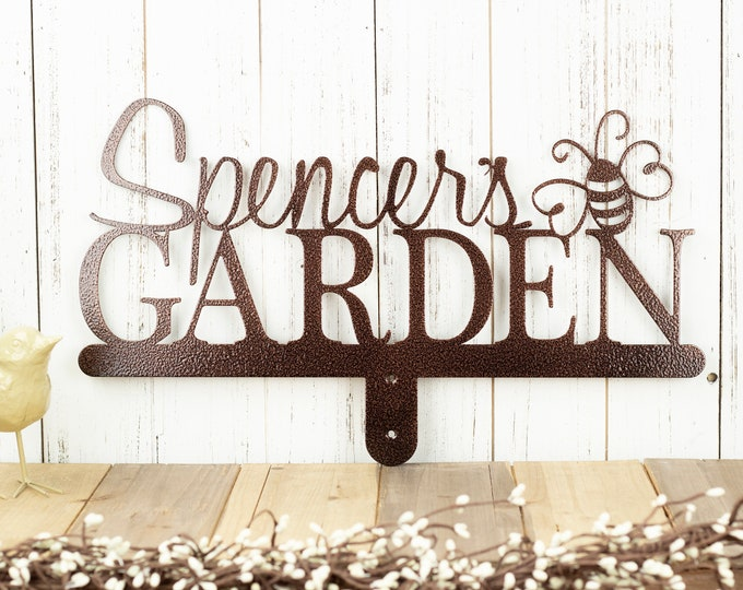Garden Sign | Name Sign | Metal Name Sign | Gift For Her | Mothers Day Gift | Metal Art | Metal Decor | Garden Decor | Bumble Bee | Sign