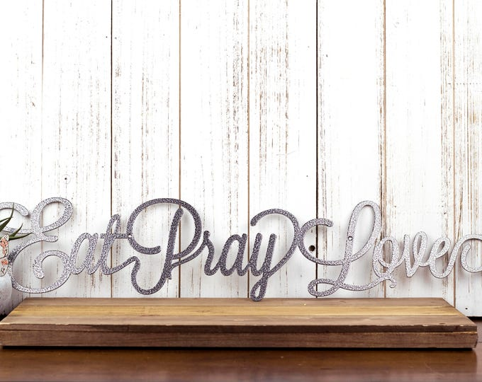 Eat Pray Love Metal Wall Decor   Kitchen Decor   Kitchen   Dining   Metal Wall Art   Eat   Pray   Love   Metal Sign   Sign   Wall Decor