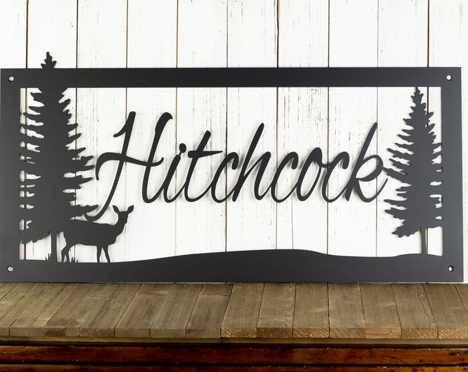Custom Family Name Sign - Metal Laser Cut Sign - Metal Wall Art Deer