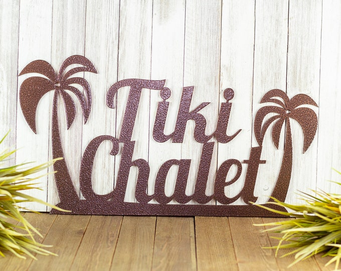 Custom Metal Name Sign with Palm Trees