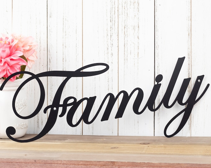 Family Sign | Metal Sign | Metal Wall Art | Wall Hanging | Family | Script | Metal Wall Decor | Sign | Housewarming Gift