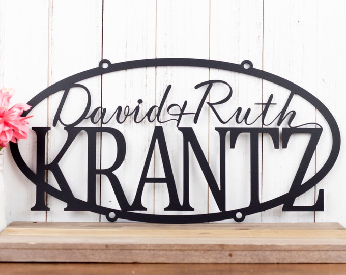 "Custom Family Name Sign Metal Outdoor | Laser Cut Metal Sign | Rustic Family Sign with Names | Metal Wall Art | Matte Black shown | 20""x 10"""