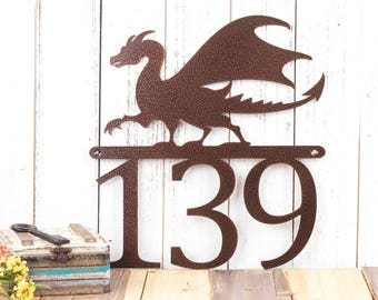 Dragon Custom House Number   Custom Metal Sign   Fantasy   Medieval   Outdoor Sign   Metal Sign   Metal House Numbers   Outdoor Sign
