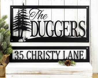 Custom Family Name and Address Metal Signs - Black, Trees, Outdoor Sign, Custom Sign, Address Sign, Name Sign