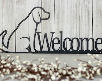 Dog Welcome Sign, Labrador, Outdoor Metal Wall Art, Dog Lover Gift, Dog Plaque