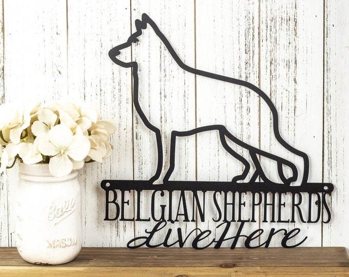 Belgian Shepherds Live Here Metal Sign - Black, 12x12, Metal Sign, Dog Sign, Door Sign, Wall Hanging, Wall Plaque