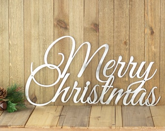 Merry Christmas Sign | Metal Wall Art | Christmas Decorations | Holiday Decor | Laser Cut Metal Sign | Outdoor Christmas Decor