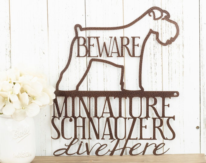 Miniature Schnauzers Live Here Metal Sign - Copper, 11.5x13, Schnauzer, Signs, Metal Wall Art, Outdoor Metal Sign, Beware Dog