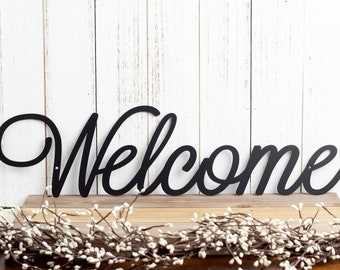 Welcome Sign | Metal Wall Art | Metal Sign | Wall Decor | Welcome | Script | Sign | Wall Hanging | Outdoor Sign | Wall Art