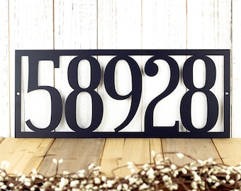 Rustic House Numbers on a Custom Metal Sign for Farmhouse Decor Housewarming Gift // Metal Address Plaque