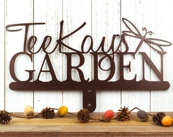 Custom Garden Sign Metal Outdoor Decor   Personalized Sign   Garden Decor   Metal Garden Art   Garden Plaque   Name Sign   Dragonfly
