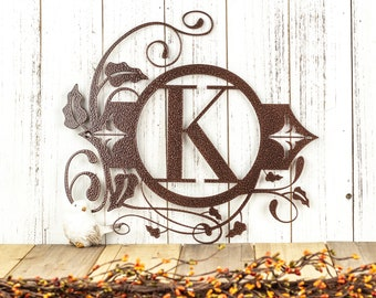 Monogram Metal Sign - Black, 13.5x12.5, Monogram Wall Art, Monogram, Monogram Wall Hanging, Metal Letter, Outdoor Sign