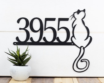 Cat House Number Metal Sign | Address Sign | Custom Sign | House Numbers | Address Plaque | Cat Sign | Metal Wall Art