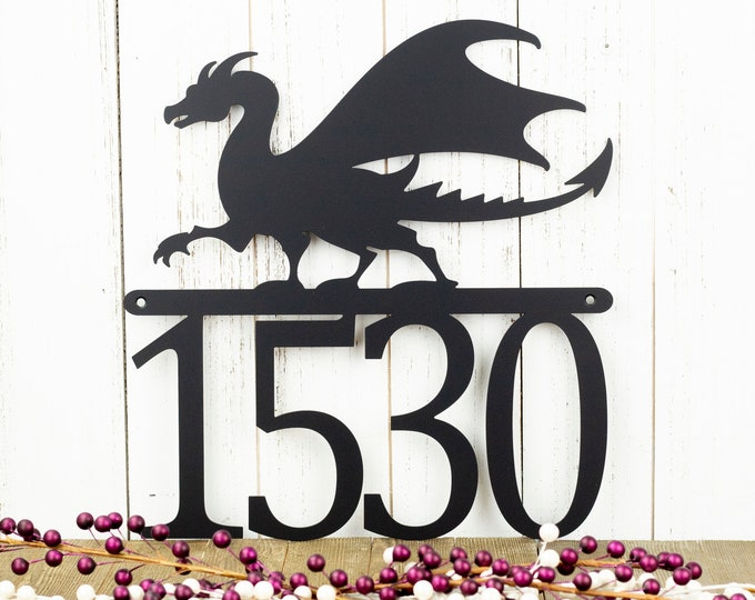 Dragon Outdoor Metal House Number Sign   House Numbers   Custom Sign   Address Plaque   Address Sign   Fantasy   Custom Metal Sign   Sign