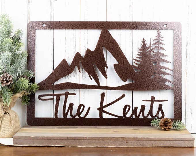 Mountain Family Name Sign | Custom Name Sign | Personalized Name Sign | Metal Wall Art | Name Sign | Wedding Gift | Sign