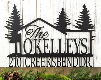 Custom Family Name and Address Metal Sign - Black, 21x14.5, Pine Tree, Outdoor Sign, Custom Sign, Address Sign