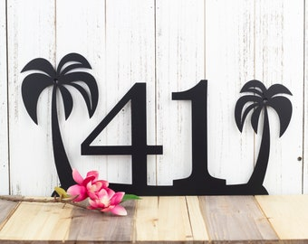 Palm Tree House Number Metal Sign | Outdoor Sign | House Numbers | Address Sign | Address Plaque | Metal House Number