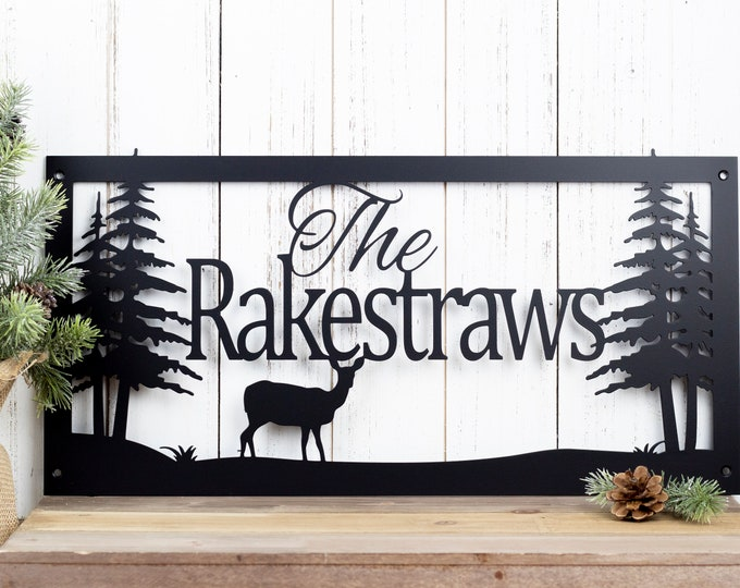 Custom Name Sign | Custom Metal Sign | Metal Sign | Personalized Sign | Lake Home Decor | Cabin Decor | Rustic Decor | Metal Wall Art | Deer