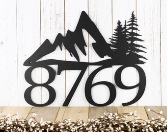 Metal House Number Sign with Mountains, Outdoor Custom Address Plaque, Housewarming Gift