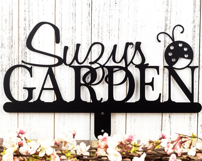 Personalized Sign | Custom Garden | Metal Sign | Gift For Her | Name Sign | Custom | Gift | Garden Name Sign | Garden Decor | Ladybug