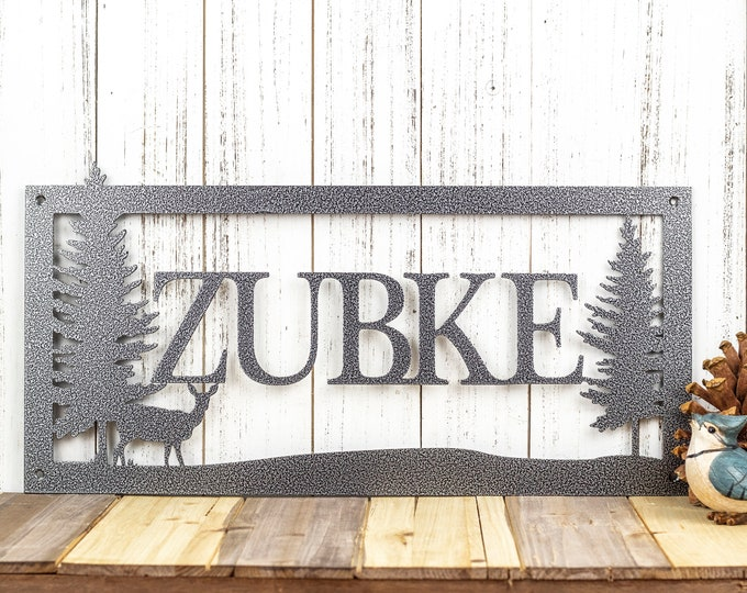 "Personalized Name Metal Sign | Deer Scene | 20""w x 10""h 