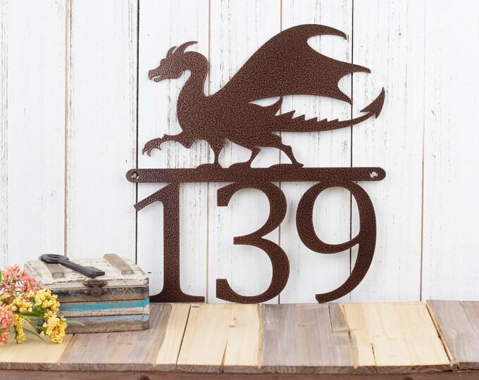 Dragon Custom House Number | Custom Metal Sign | Fantasy | Medieval | Outdoor Sign | Metal Sign | Metal House Numbers | Outdoor Sign